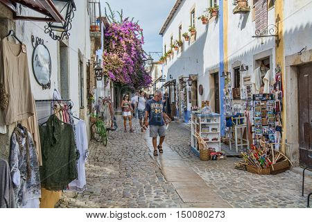 Obidos Portugal. 30 September 2016. view of Obidos Obidos is an ancient medieval Portuguese village from the 11th century still inside castle walls. Obidos Portugal. photography by Ricardo Rocha.
