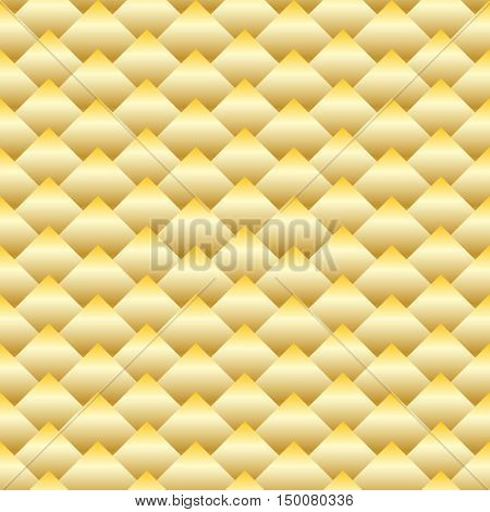 Vector golden rhombus seamless pattern. Gradient of gold. Three dimentional effect