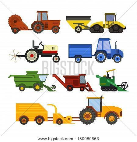 Agriculture industrial farm equipment, machinery tractors combines and excavators farm equipment, collection machinery vector.