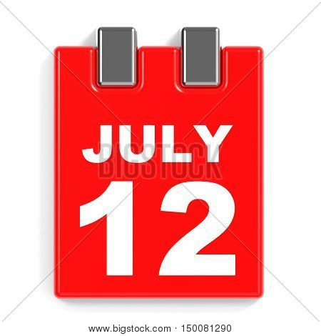 July 12. Calendar On White Background.