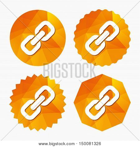 Link sign icon. Hyperlink chain symbol. Triangular low poly buttons with flat icon. Vector