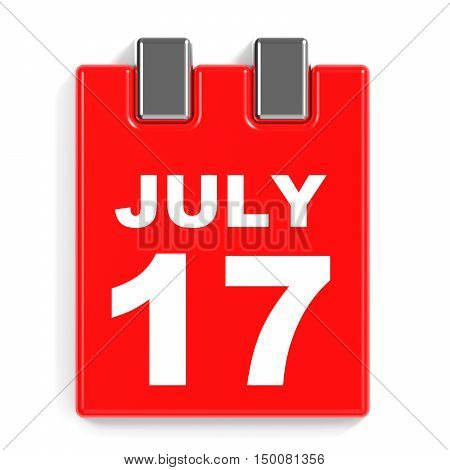July 17. Calendar On White Background.
