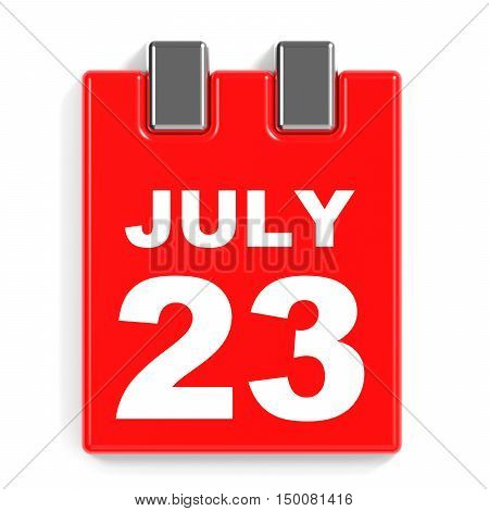 July 23. Calendar On White Background.