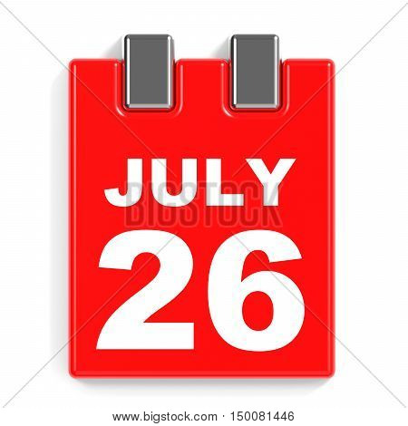 July 26. Calendar On White Background.