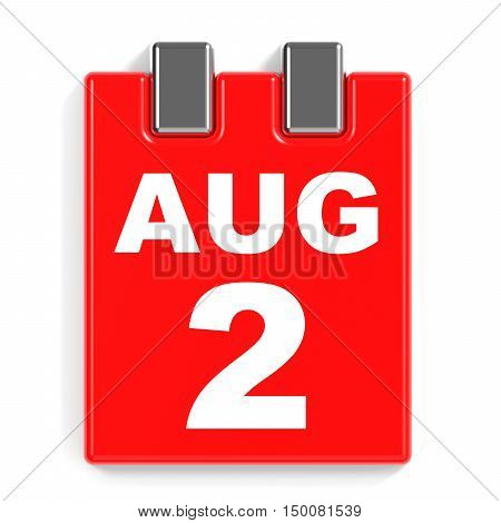 August 2. Calendar On White Background.