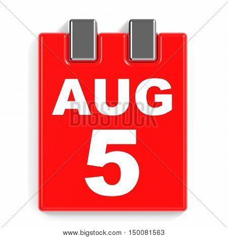 August 5. Calendar On White Background.