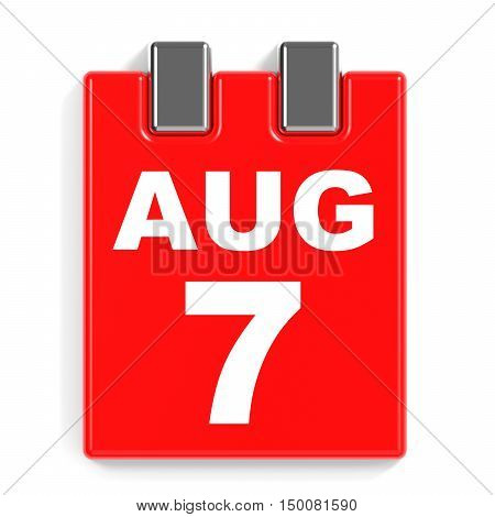 August 7. Calendar On White Background.