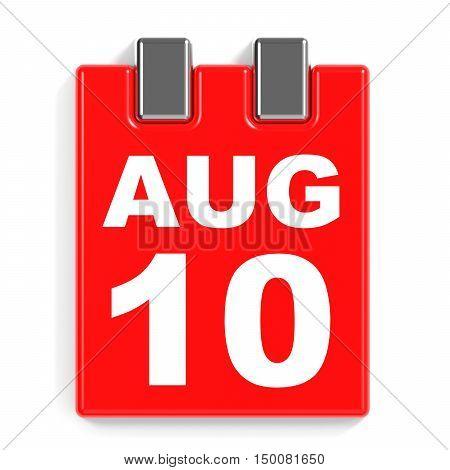 August 10. Calendar On White Background.