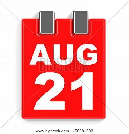 August 21. Calendar On White Background.