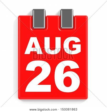 August 26. Calendar On White Background.