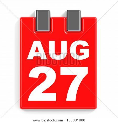 August 27. Calendar On White Background.