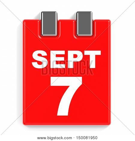 September 7. Calendar On White Background.