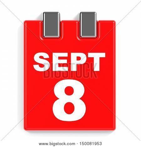 September 8. Calendar On White Background.