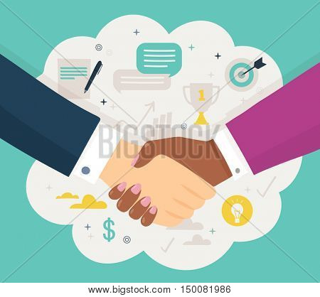 abstract shaking hands business. Vector illustration. Symbol of success deal, happy partnership, greeting shake, casual handshaking agreement flat sign design isolated on green background and cloud