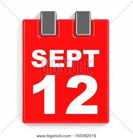 September 12. Calendar On White Background.