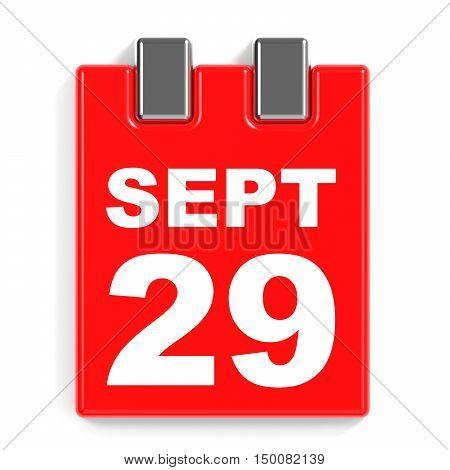 September 29. Calendar On White Background.