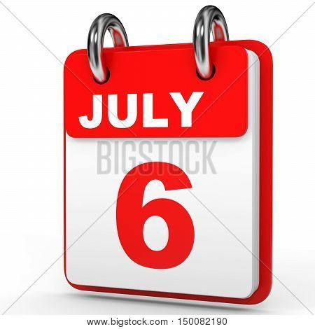 July 6. Calendar On White Background.