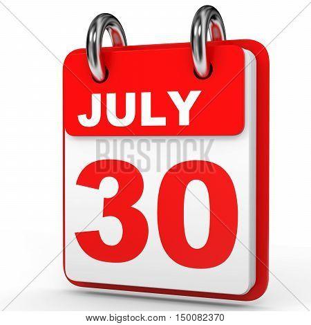 July 30. Calendar On White Background.
