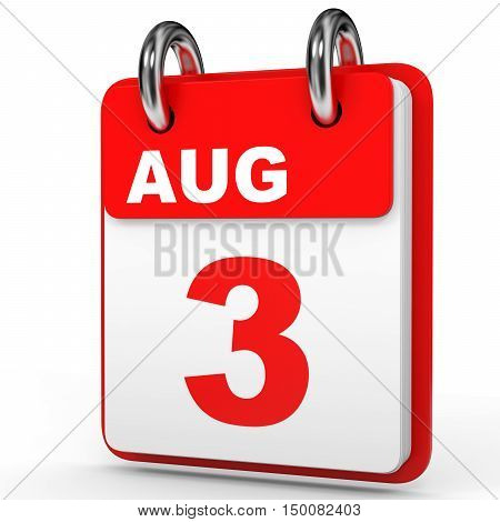 August 3. Calendar On White Background.