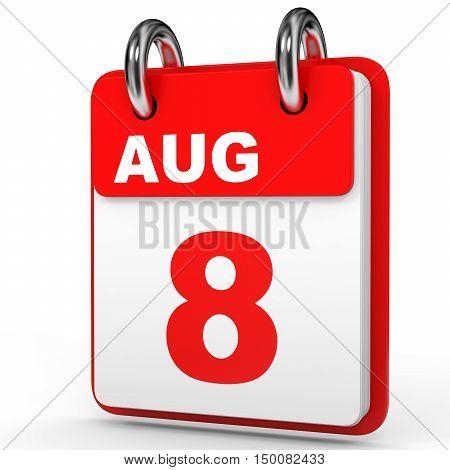 August 8. Calendar On White Background.