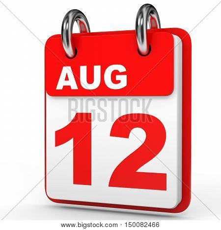 August 12. Calendar On White Background.