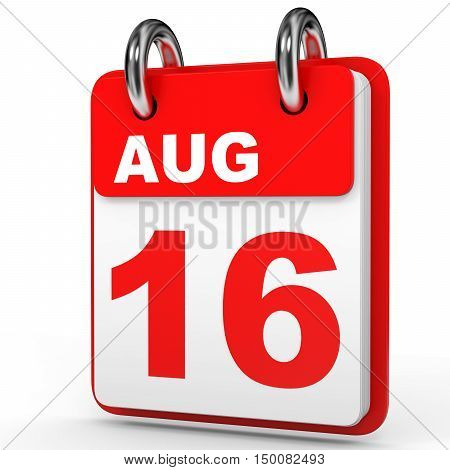 August 16. Calendar On White Background.
