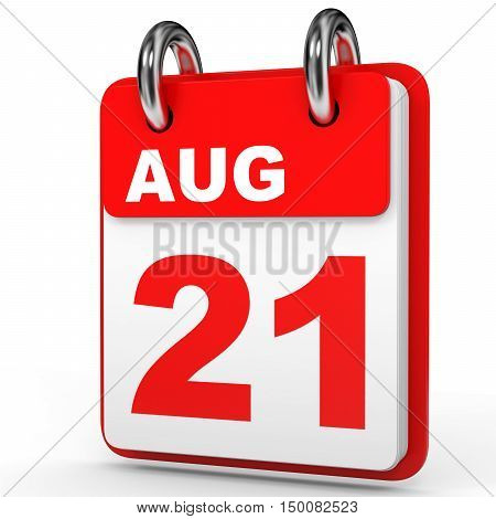August 21. Calendar On White Background.