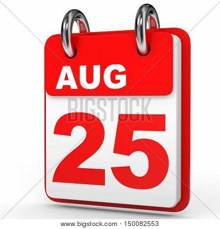 August 25. Calendar On White Background.