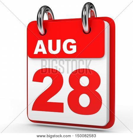 August 28. Calendar On White Background.