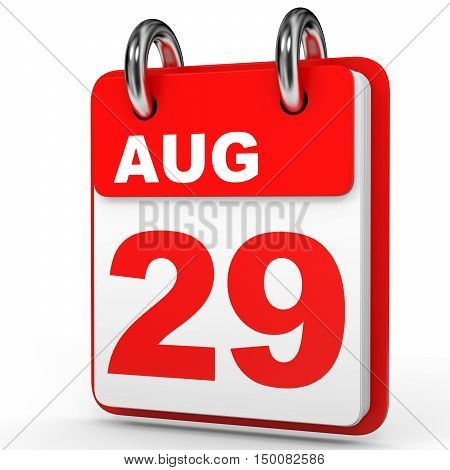 August 29. Calendar On White Background.