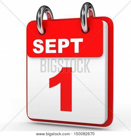 September 1. Calendar On White Background.