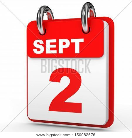 September 2. Calendar On White Background.