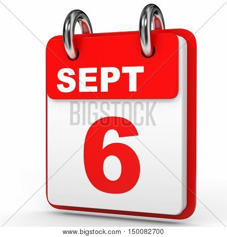 September 6. Calendar On White Background.