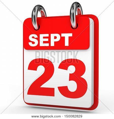 September 23. Calendar On White Background.