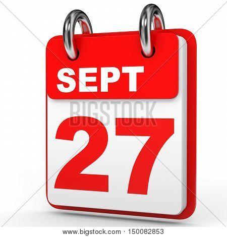 September 27. Calendar On White Background.