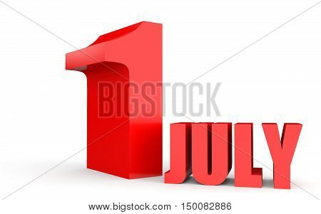 July 1. Text On White Background.
