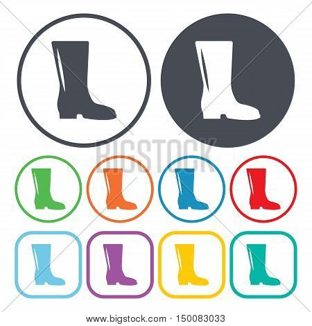 rubber boots icon on white background for web