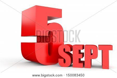 September 5. Text On White Background.