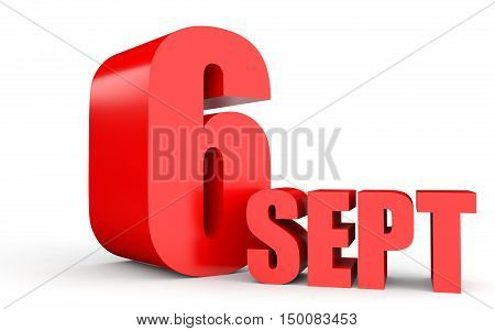 September 6. Text On White Background.