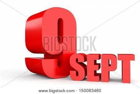 September 9. Text On White Background.