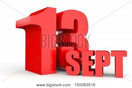 September 13. Text On White Background.