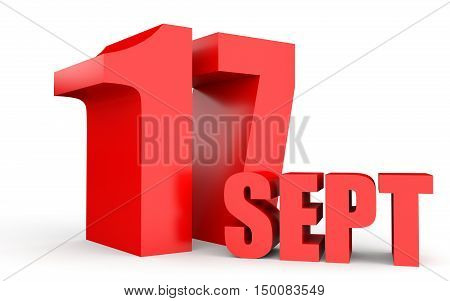 September 17. Text On White Background.