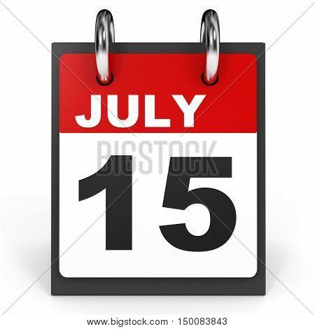 July 15. Calendar On White Background.