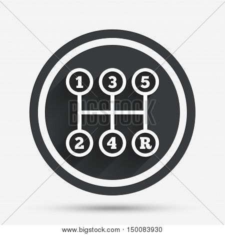 Manual transmission sign icon. Automobile mechanic control symbol. Circle flat button with shadow and border. Vector