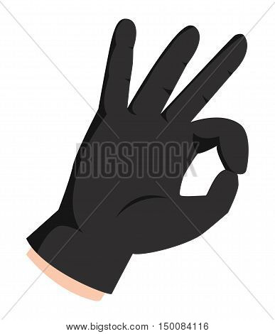 Ok hand success gesture and signal business agreement. Best approval accept. Silhouette of hand showing symbol of all ok