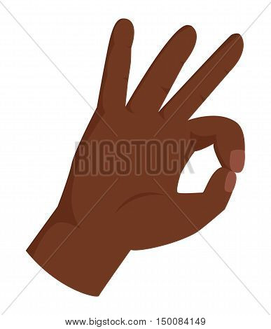 Ok hand success gesture . Best approval accept. Silhouette of hand showing symbol of all ok