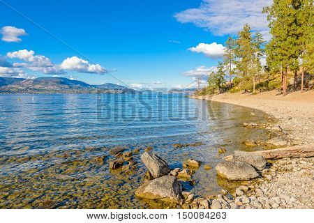 Majestic mountain lake in Canada. Okanagan Lake. Kelowna. Vancouver.