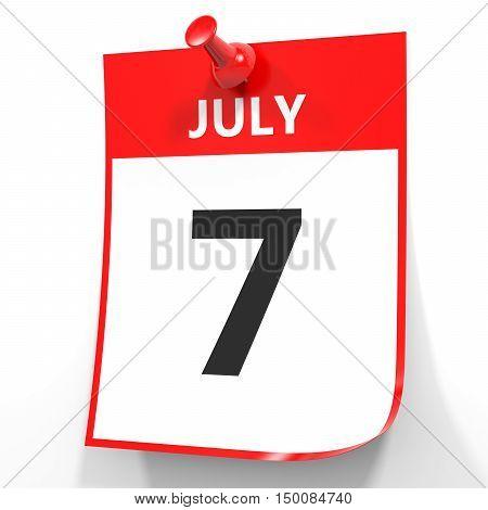 July 7. Calendar On White Background.