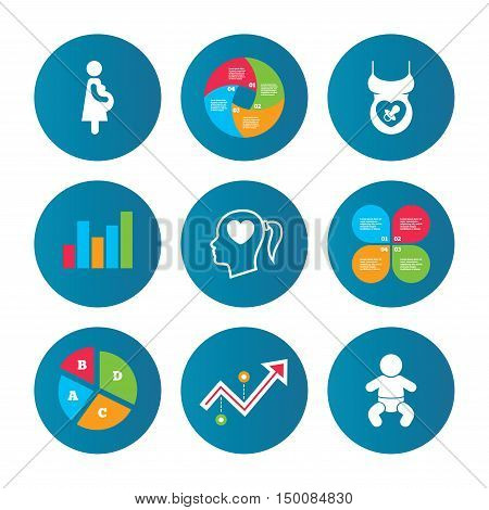 Business pie chart. Growth curve. Presentation buttons. Maternity icons. Baby infant, pregnancy and dummy signs. Child pacifier symbols. Head with heart. Data analysis. Vector