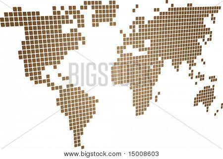 Map of the world illustration, perspective mosaic block style